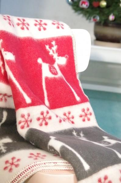 Vlnená deka vianočný vzor so sobmi