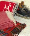 Vianočná vlnená deka - červená