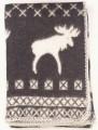 Škandinávska deka vlnená bielo-čierna