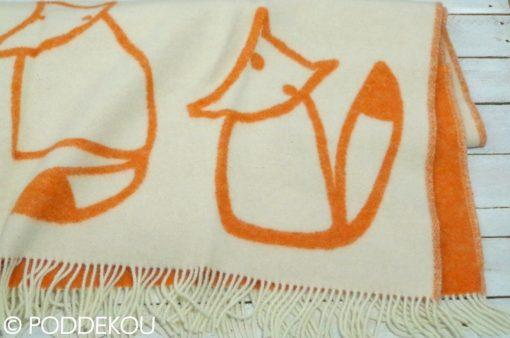Vlnená deka líška tehlovo-oranžová