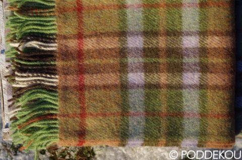 Detail zelenej károvanej deky