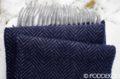Kašmírový šál so vzorom rybia kosť tmavomodrý