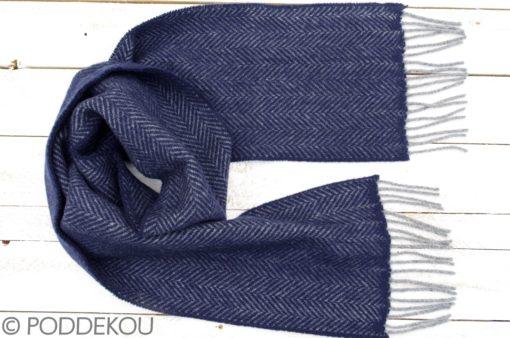 Merino kašmírový šál so vzorom rybia kosť modro - sivý