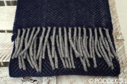 Merino kašmírový šál so vzorom rybia kosť navy