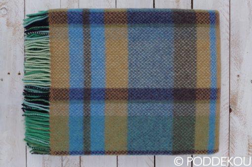 Elegantná vlnená deka károvaná modro okrová.