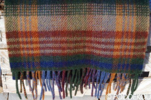 Tartanový vlnený šál - viacfarebný, károvaný farebný šál tmavo zelený modrý oranžový bordový béžový