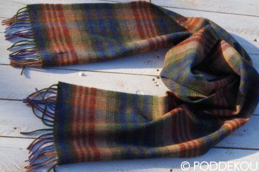 Tartanový vlnený šál - viacfarebný, pánsky vlnený šál, károvaný farebný šál tmavý, tmavý šál tartanový pánsky, dámsky so strapcami