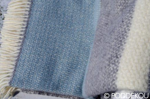 Kvalitná deka z ovčej vlny svetlo modrá-sivá námornícky štýl letná deka