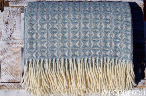 Kvalitná deka pastelovo modrá s moderným vzorom