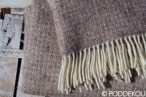 Vlnený pléd hnedý, prikrývka hnedobiela, luxusná vlnená deka hnedobiela