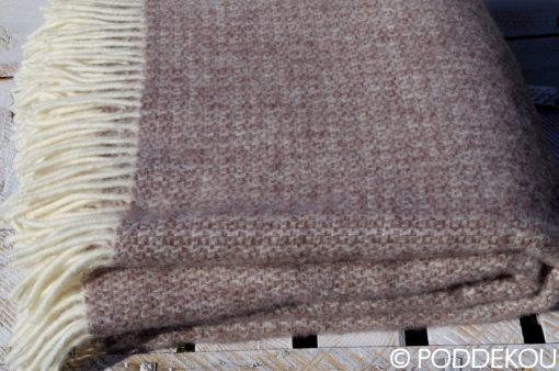 Kvalitná deka hnedo-biela z ovčej vlny, elegantná deka hnedá