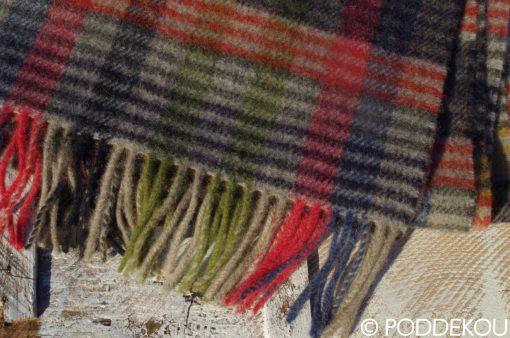 Károvaný šál farebný sivo-čieno-modro-zelený