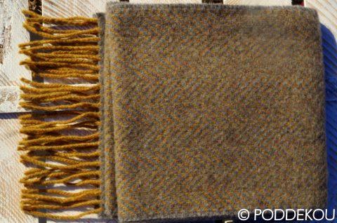 Luxusný kašmírový šál s merino vlnou svetosivý, vzor herringbone, rybia kosť, merino kašmírový šál sivo-horčicový so vzorom rybia kosť