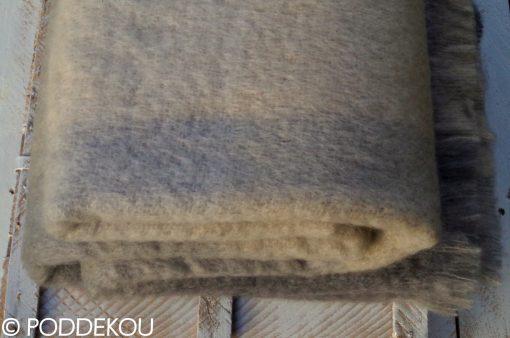 Luxusná vlnená deka z mohéru kockovaná béžová, sivá, slonová kosť, béžovo-sivá