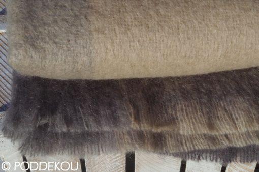 Elegantná deka béžovo sivá bez strapcov z mohéru