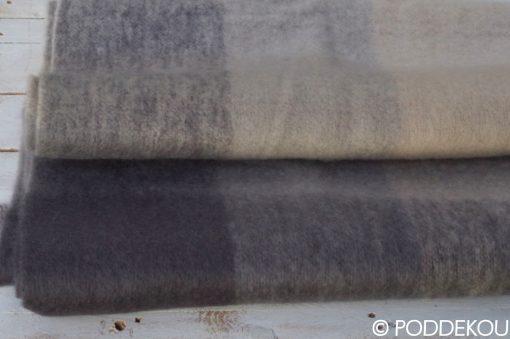 Luxusná deka z mohéru, kockovaná deka béžovo-sivá mohérová