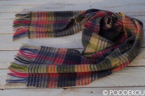 Luxusný šál z jahňacej vlny, Tartanový vlnený šál viacfarebný - čierny, sivý, červený, zelený, modrý, žltý