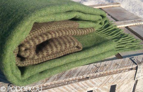 Merino deka károvaná - zelená